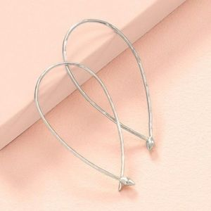 Stella & Dot Hammered Wire Silver Hoops